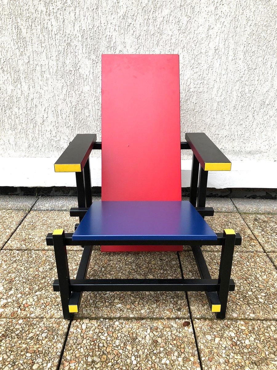 Nice Vintage Red U0026 Blue Armchair By Gerrit Thomas Rietveld