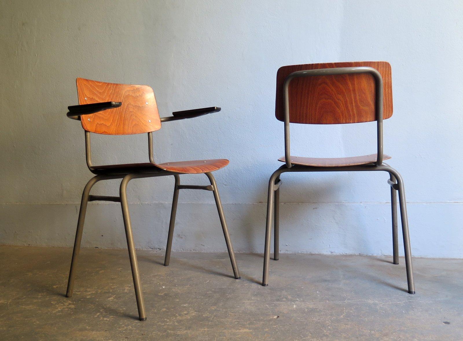 vintage st hle aus holz furnier 2er set bei pamono kaufen. Black Bedroom Furniture Sets. Home Design Ideas