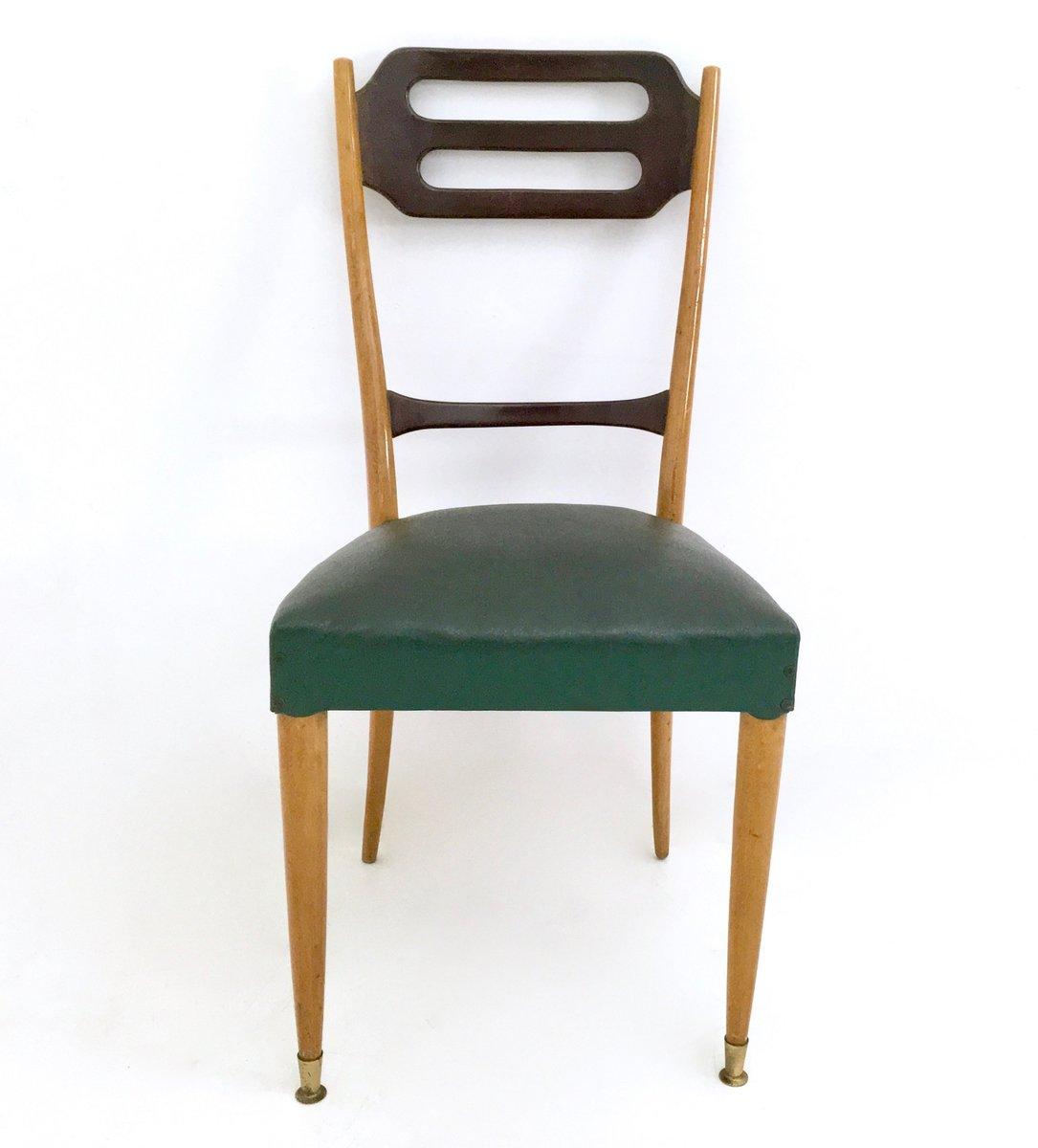 italienische esszimmer st hle in gr nem skai 1950er 6er set bei pamono kaufen. Black Bedroom Furniture Sets. Home Design Ideas