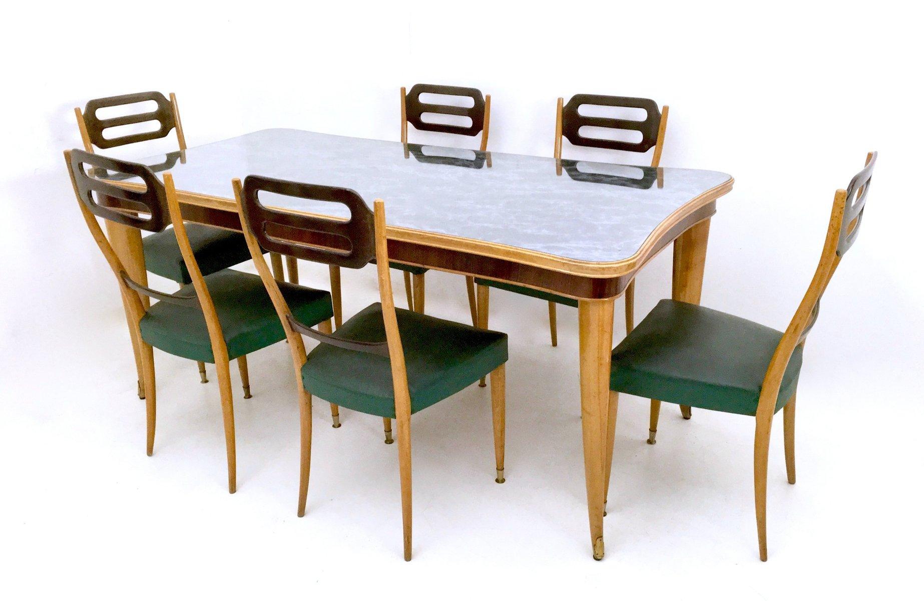 Sedie Da Pranzo In Similpelle Verde Italia Anni 39 50 Set