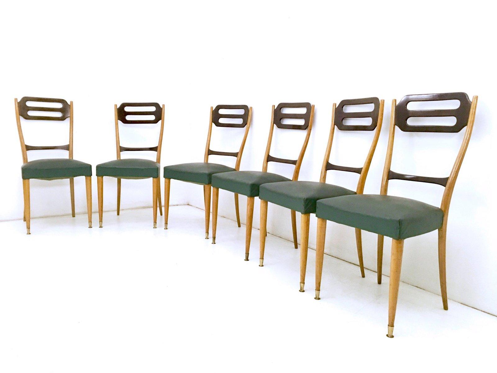 Italienische Esszimmer Stühle in Grünem Skai, 1950er, 6er Set bei Pamono kaufen