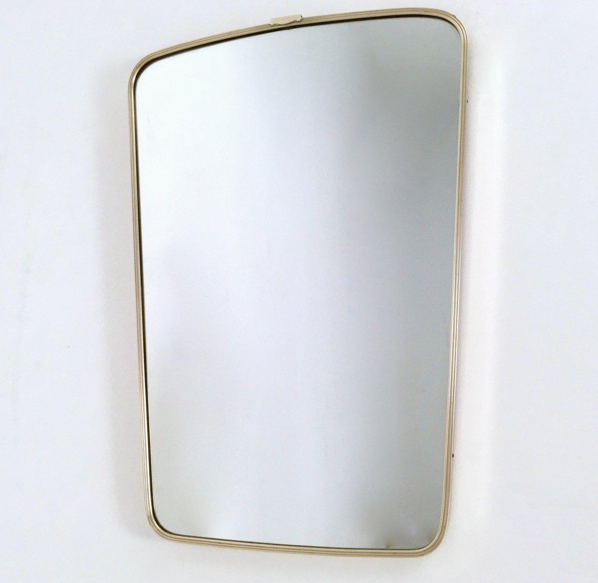 Specchio da parete in ottone, Italia, anni \'50 in vendita su Pamono