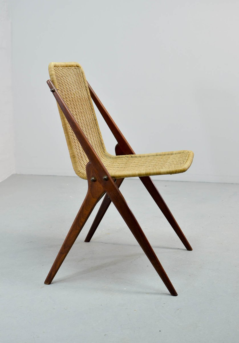 Dutch teak reed desk chair 1950s for sale at pamono for Dutch design chair uk