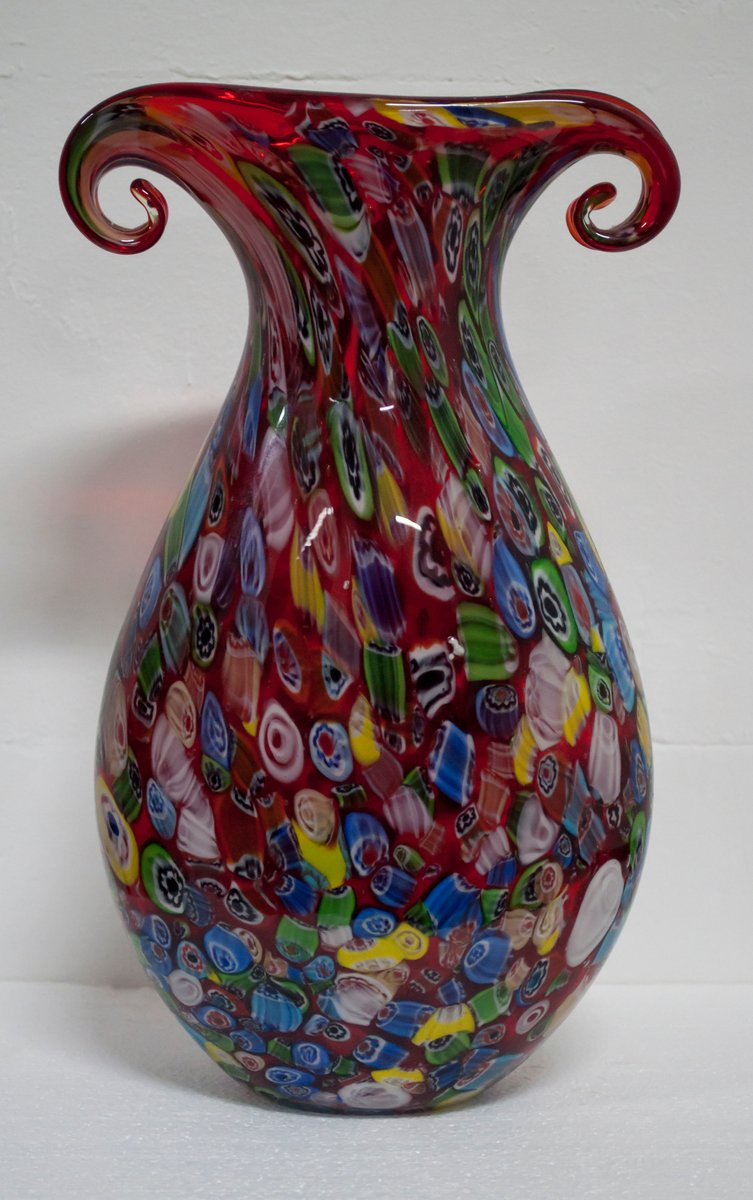 Vintage Italian Multicolored Murano Glass Vase From