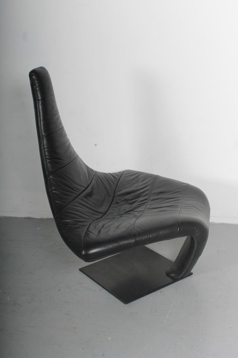 schwarzer vintage turner leder sessel von jack crebolder. Black Bedroom Furniture Sets. Home Design Ideas