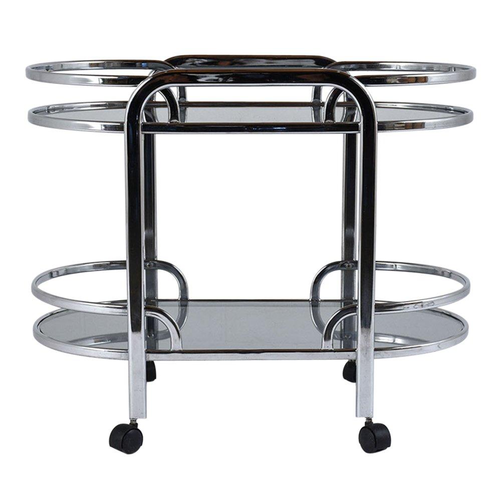 Mid Century Modern Chrome Glass Bar Cart For Sale At Pamono