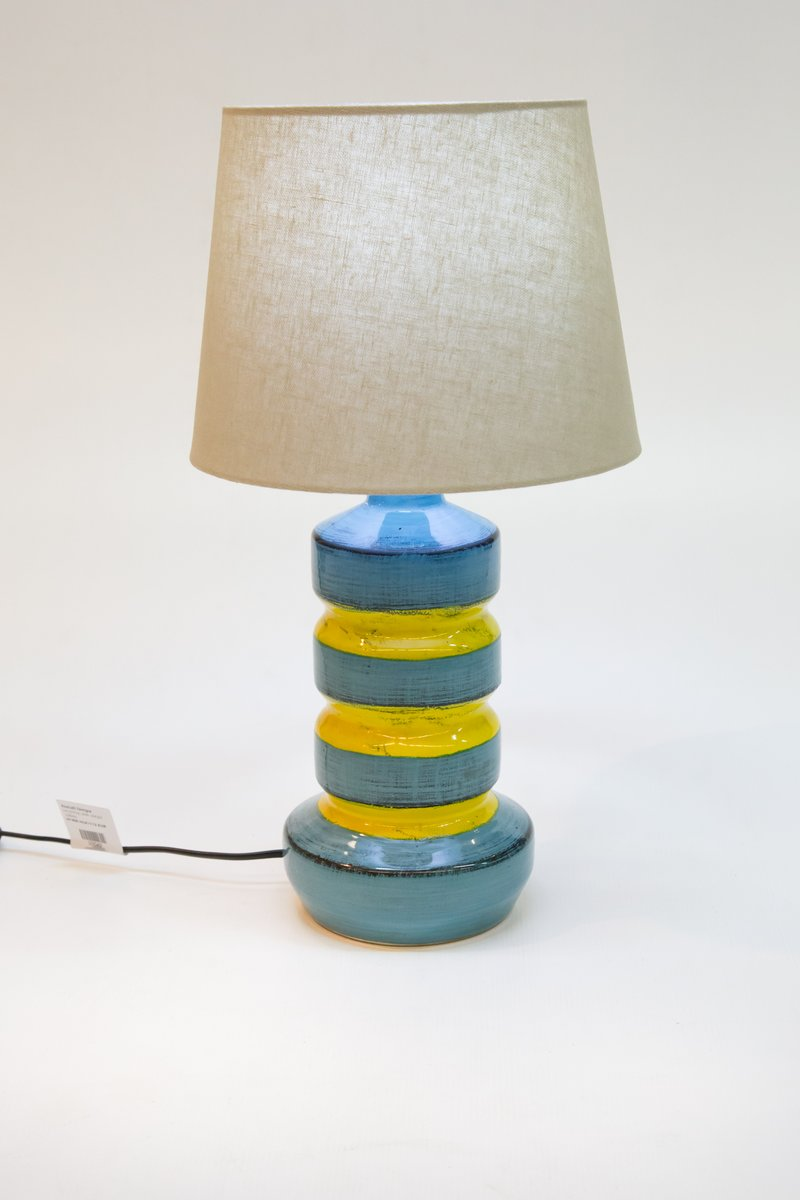 Blue Yellow Ceramic Table Lamp 1970s For Sale At Pamono
