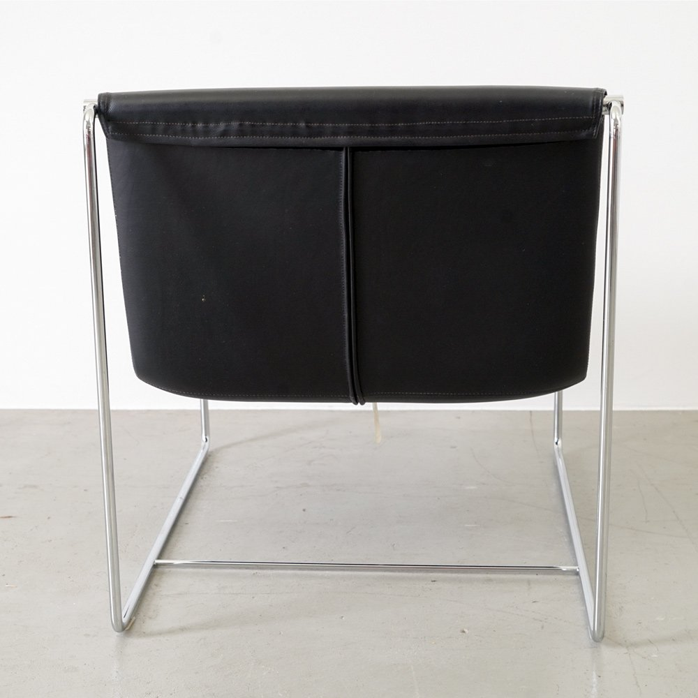schwarzer italienischer vintage leder sessel von zanotta. Black Bedroom Furniture Sets. Home Design Ideas
