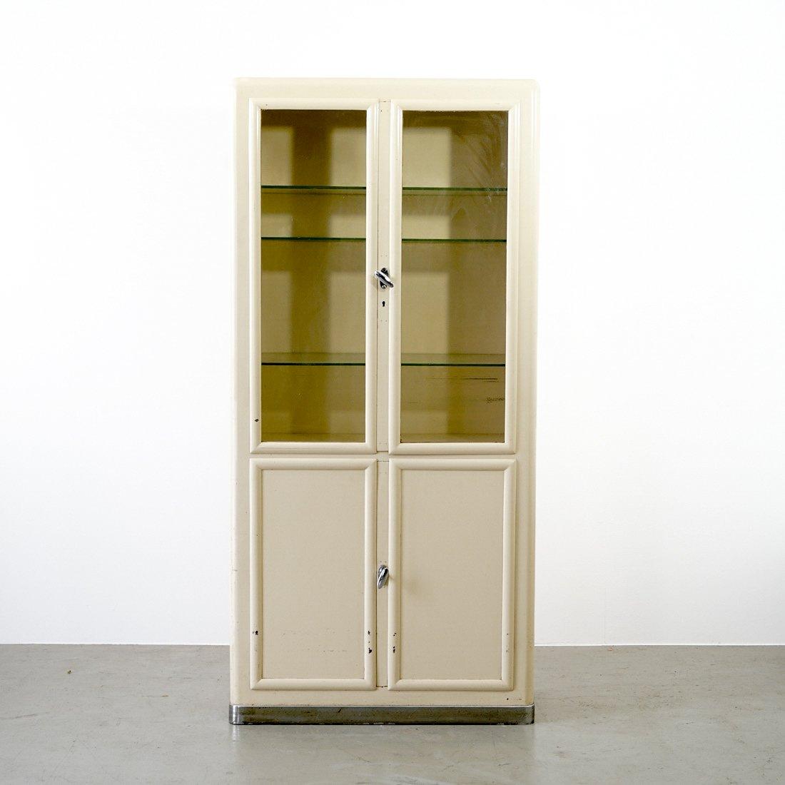 Vintage Cream Metal & Glass Medicine Cabinet - Vintage Cream Metal & Glass Medicine Cabinet For Sale At Pamono