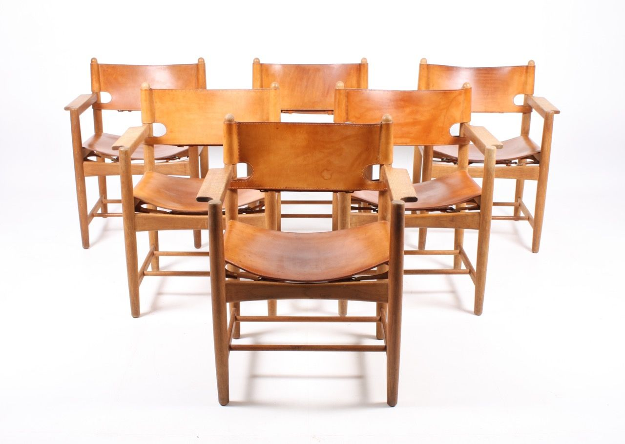 Leather U0026 Oak Dining Chairs By Børge Mogensen For Fredericia, 1960s, Set Of  6