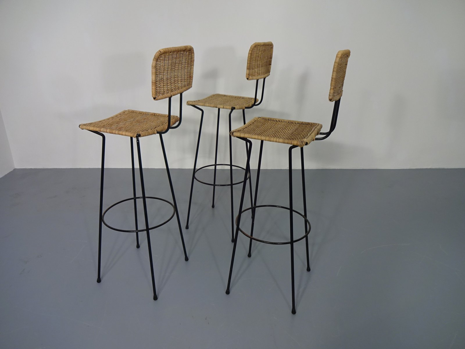 Rattan Bar Stools 1960s Set Of 3 For Sale At Pamono