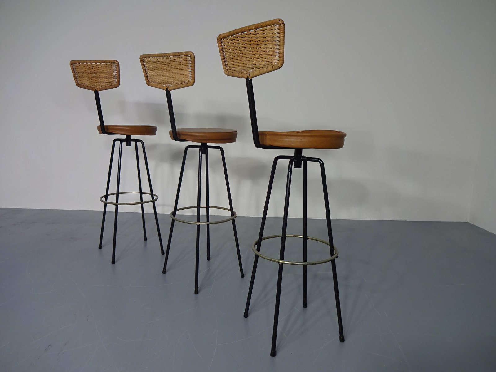 Rotatable Rattan Barstools 1960s Set Of 3 For Sale At Pamono