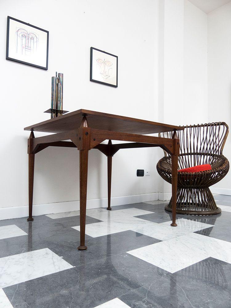 quadratischer tl3 teak tisch von franco albini f r poggi 1960er bei pamono kaufen. Black Bedroom Furniture Sets. Home Design Ideas