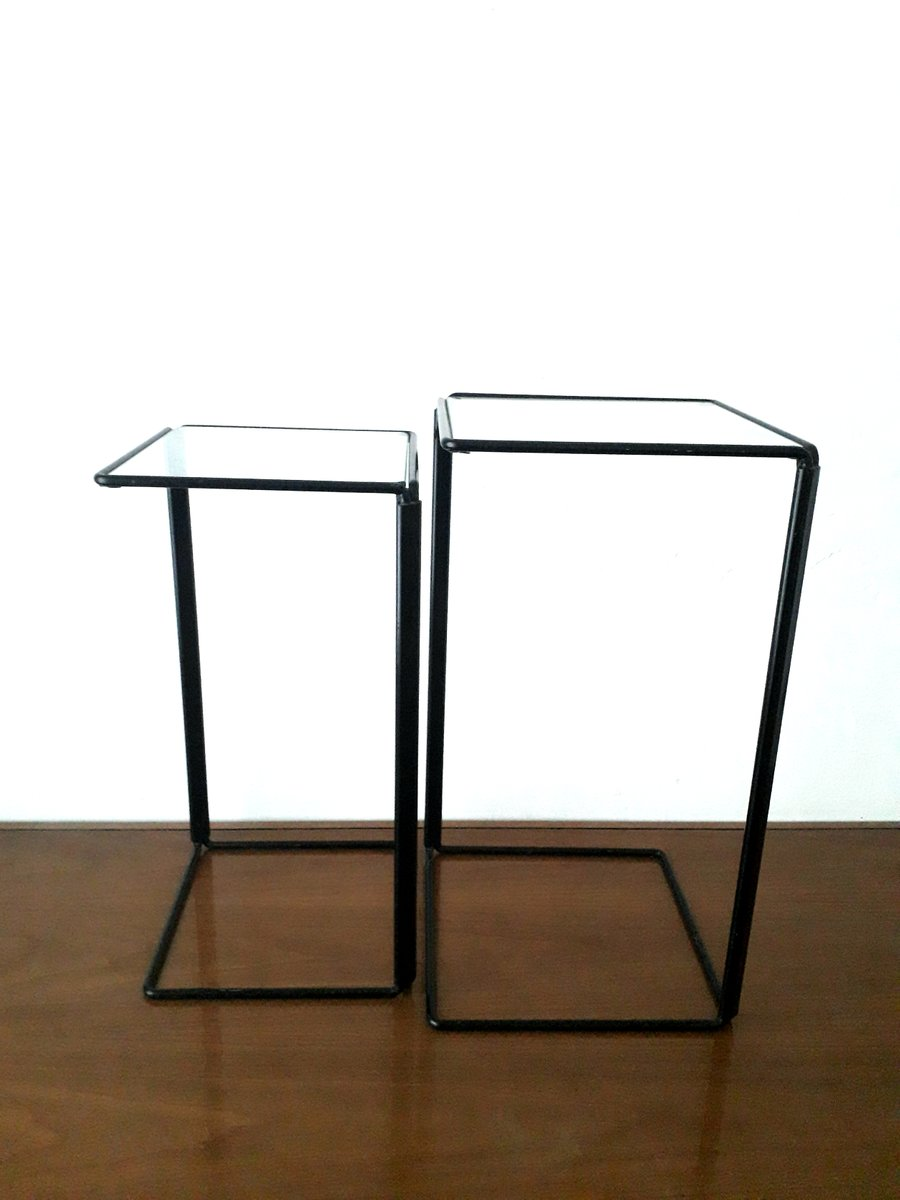 Minimalist Metal And Glass Nesting Side Tables