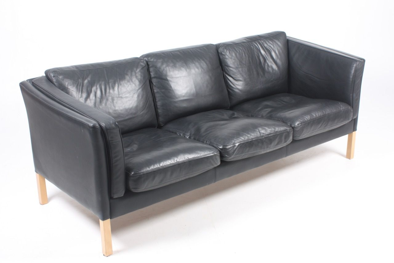 Danish Black Leather Sofa From Stouby, 1980s