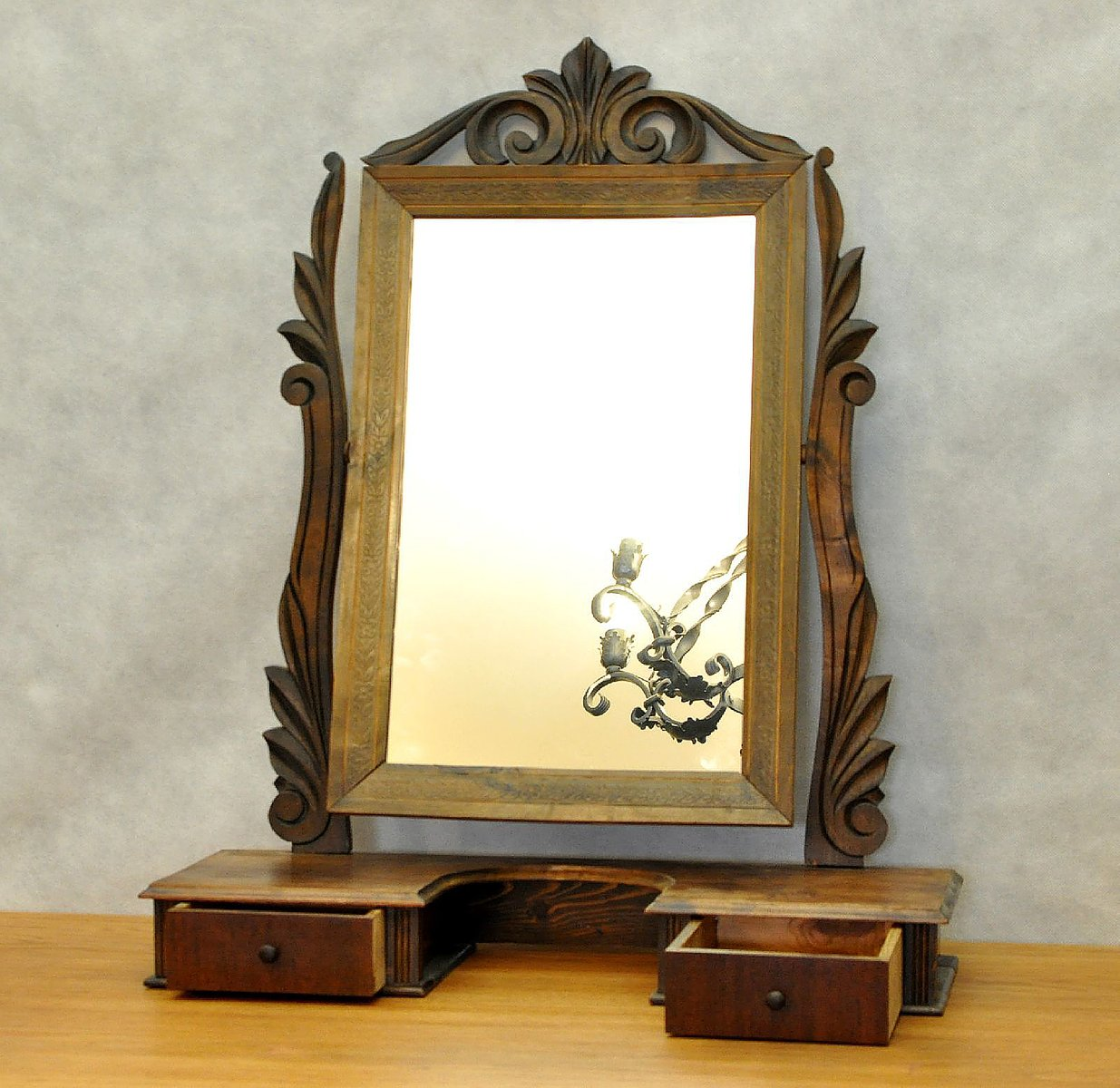 Danish vintage dressing table mirror with drawers for sale for Vanity table with drawers no mirror