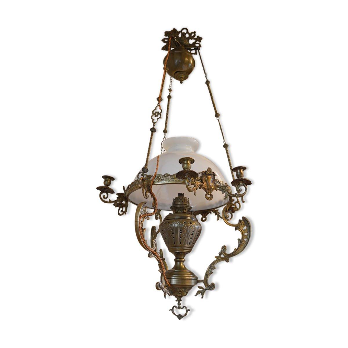 Grand chandelier en bronze et laiton 19 me si cle en vente sur pamono - Grand chandelier sur pied ...