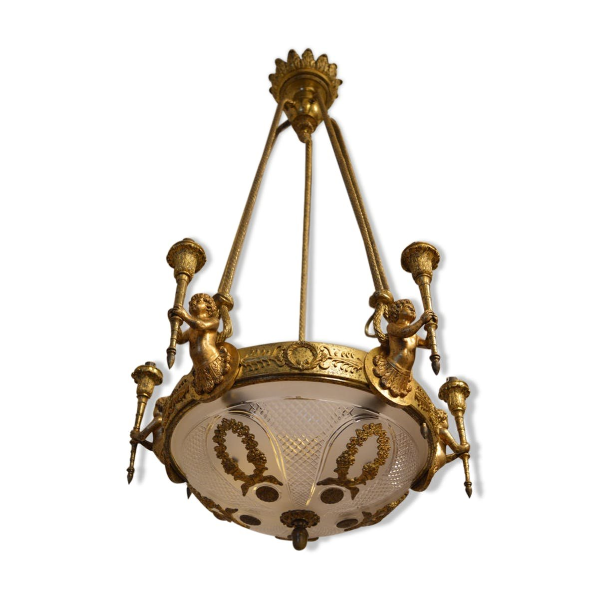 Antique louis xvi style chandelier with cherubs in gilt bronze for antique louis xvi style chandelier with cherubs in gilt bronze arubaitofo Gallery