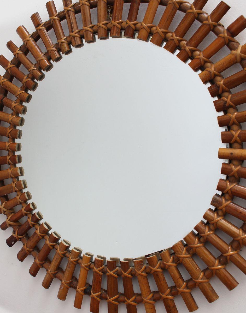 italienischer wandspiegel mit rattan rahmen in sonnen optik 1960er bei pamono kaufen. Black Bedroom Furniture Sets. Home Design Ideas