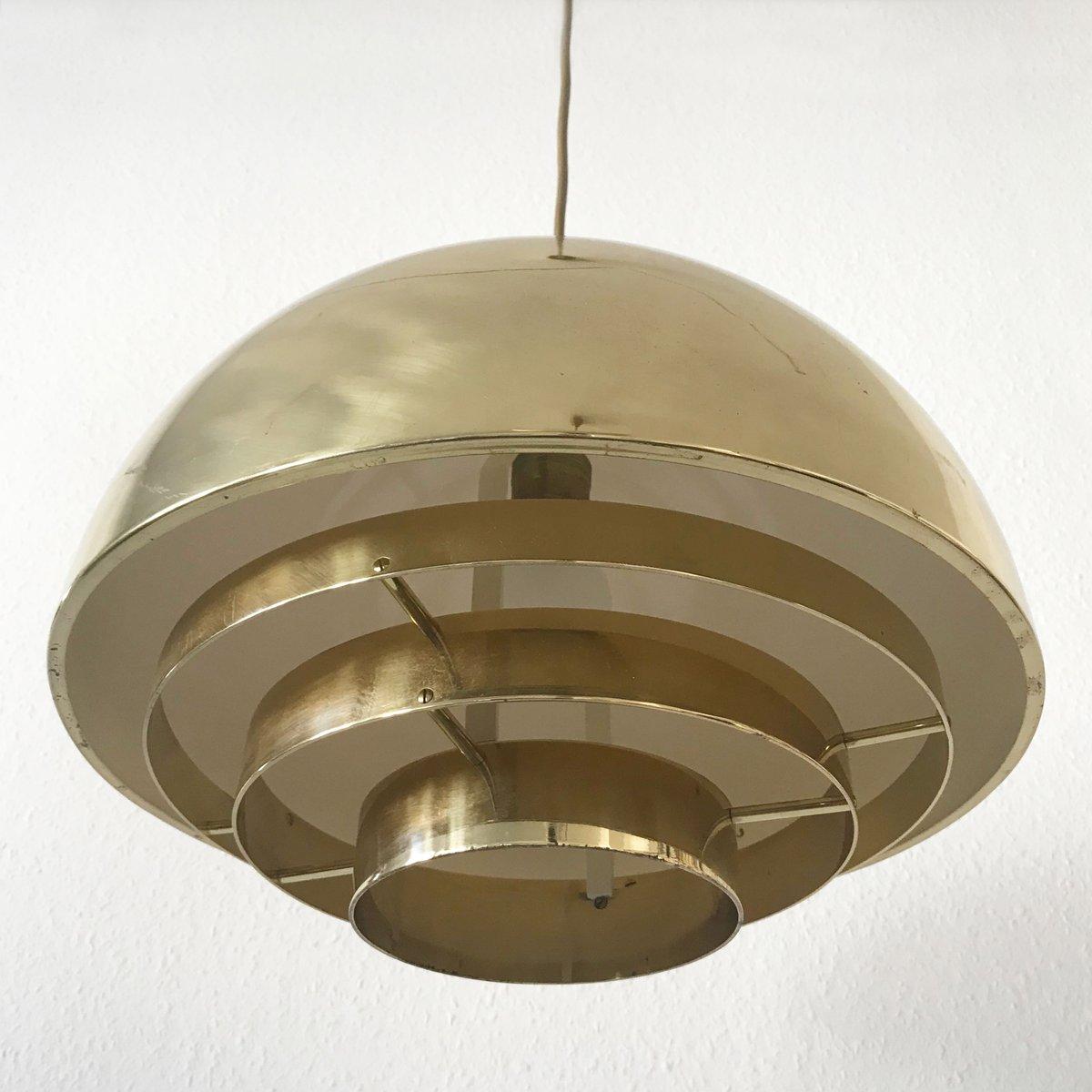 Mid century modern brass dome pendant lamp from vereinigte for Mid century modern hanging lamp
