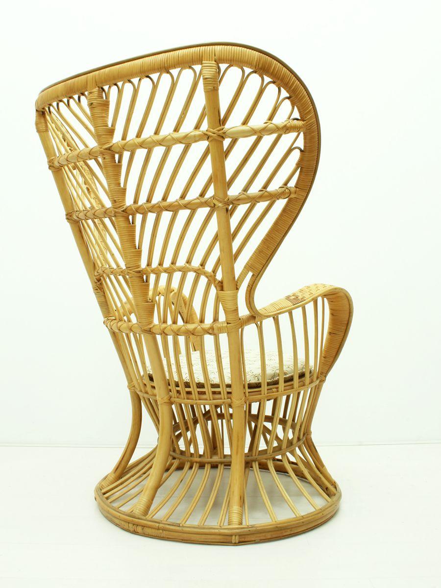 Italian Conte Biancamano Wicker Lounge Chair By Gio Ponti U0026 Lio Carminati  For Vittorio Bonacina, 1950s For Sale At Pamono