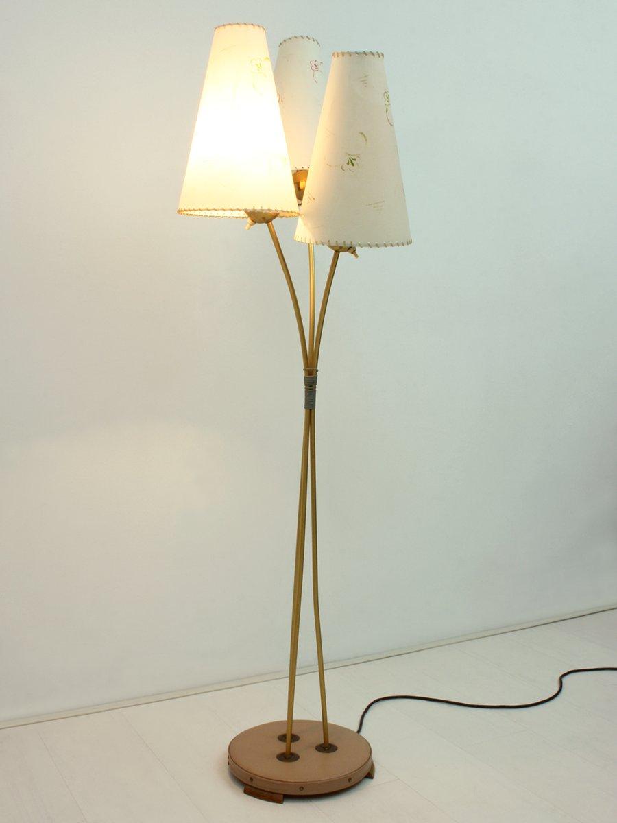 stehlampe mit 3 leuchten 1950er bei pamono kaufen. Black Bedroom Furniture Sets. Home Design Ideas