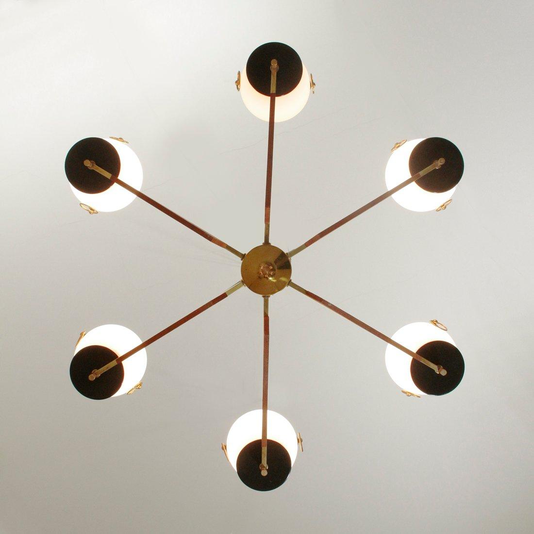messing opalglas kronleuchter 1950er bei pamono kaufen. Black Bedroom Furniture Sets. Home Design Ideas