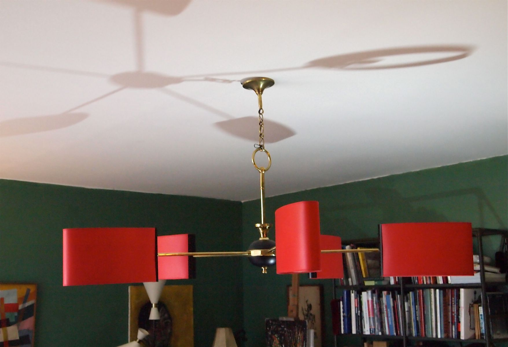 Mid Century French Red Chandelier 1950s for sale at Pamono