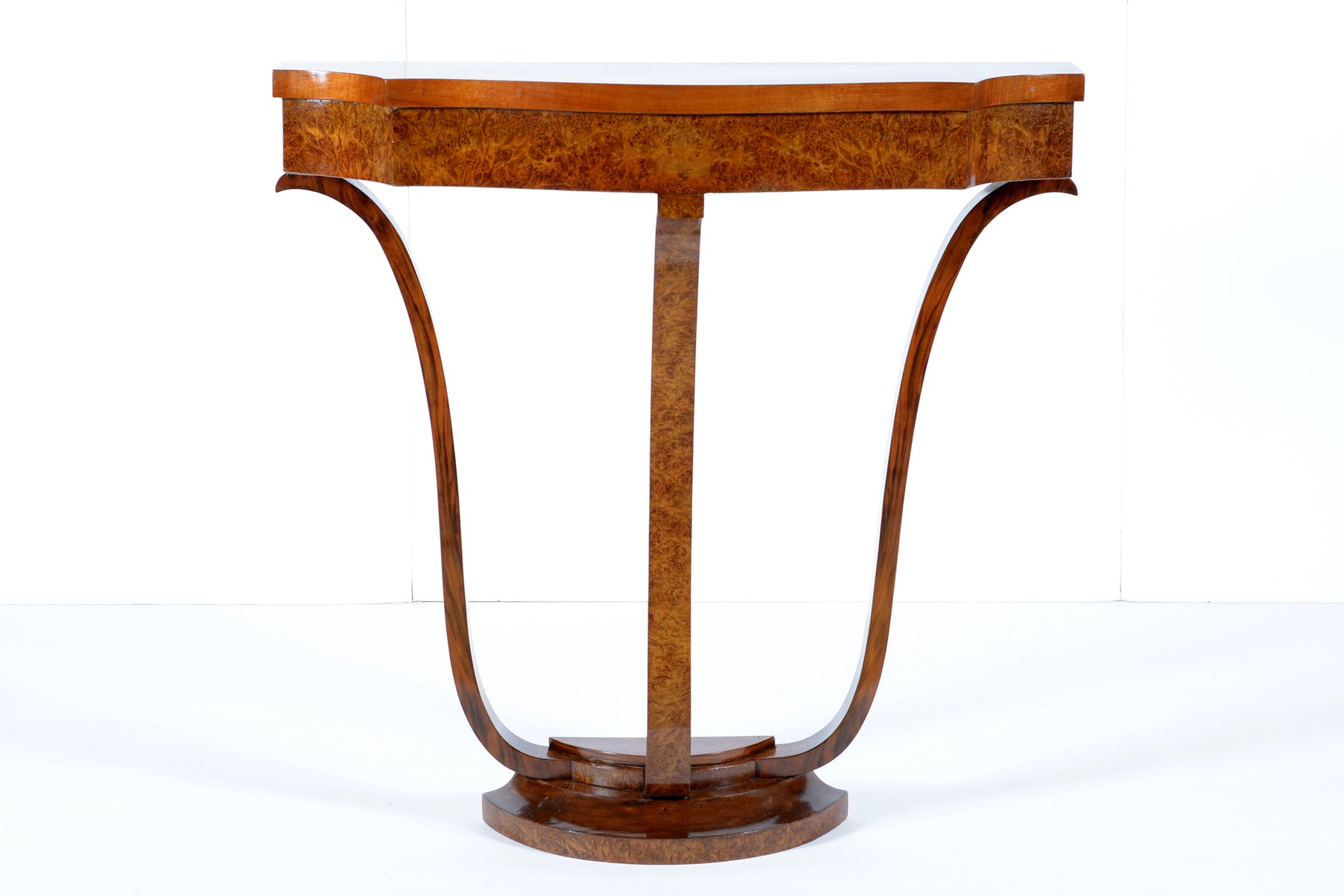 Italian Art Deco Walnut Burr Console, 1930s for sale at Pamono