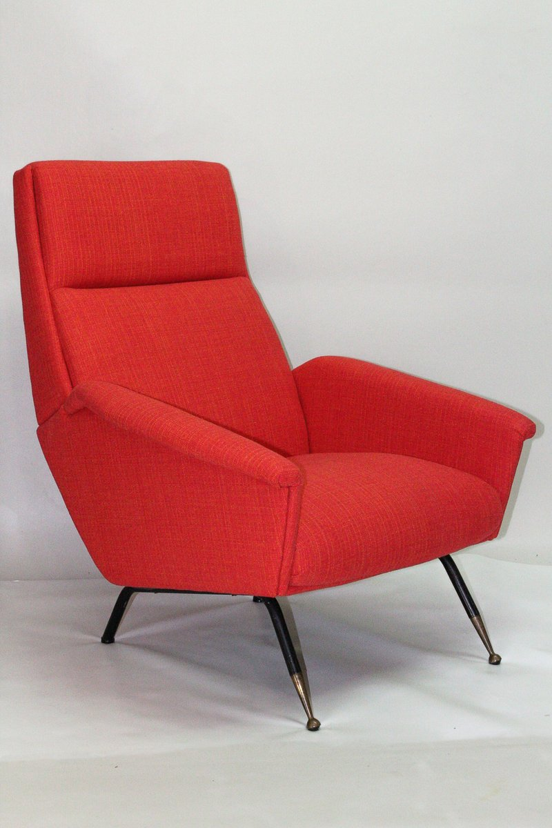 Mid Century Red Armchairs, 1960s, Set Of 2