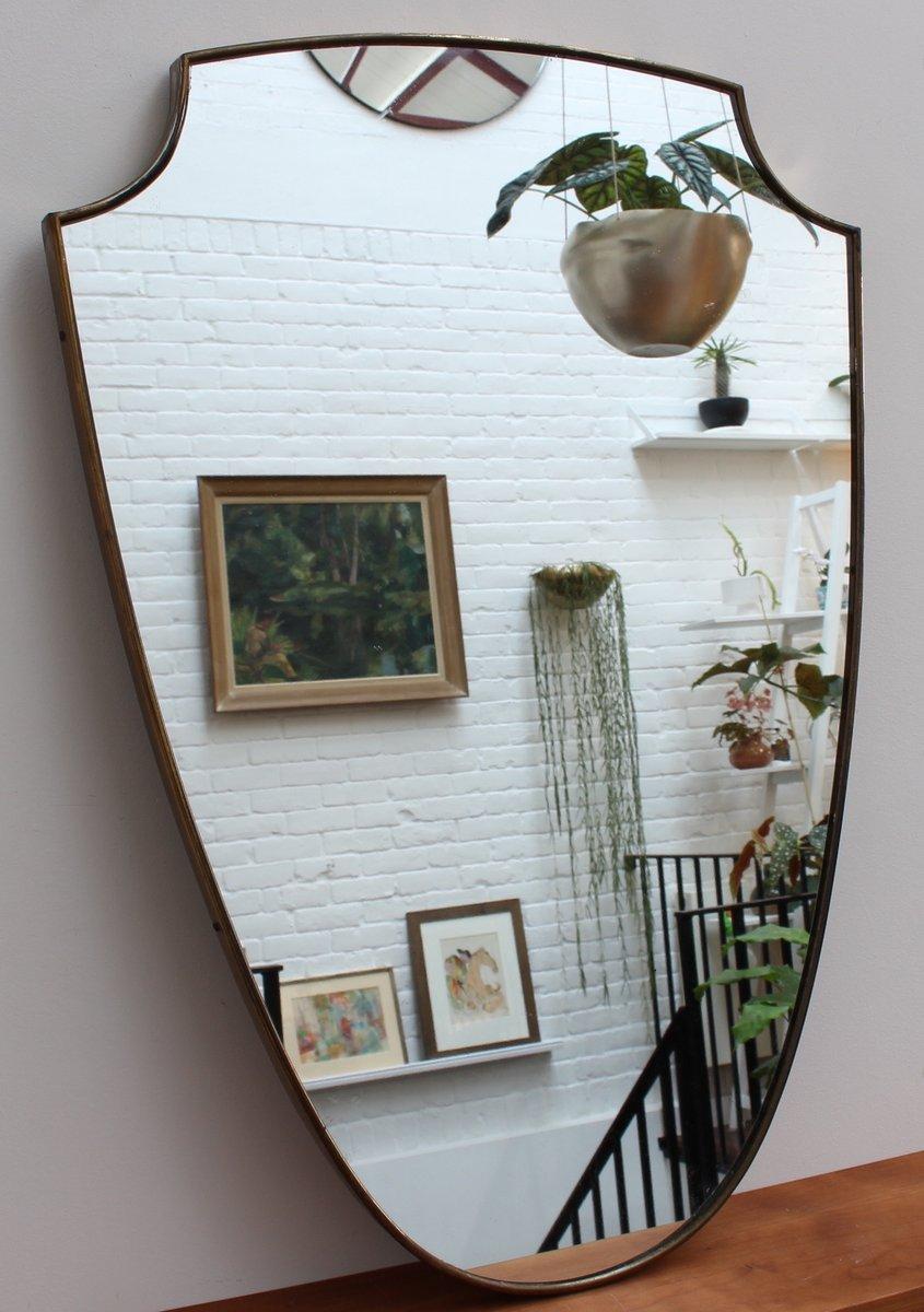 italienischer mid century wandspiegel mit rahmen aus. Black Bedroom Furniture Sets. Home Design Ideas