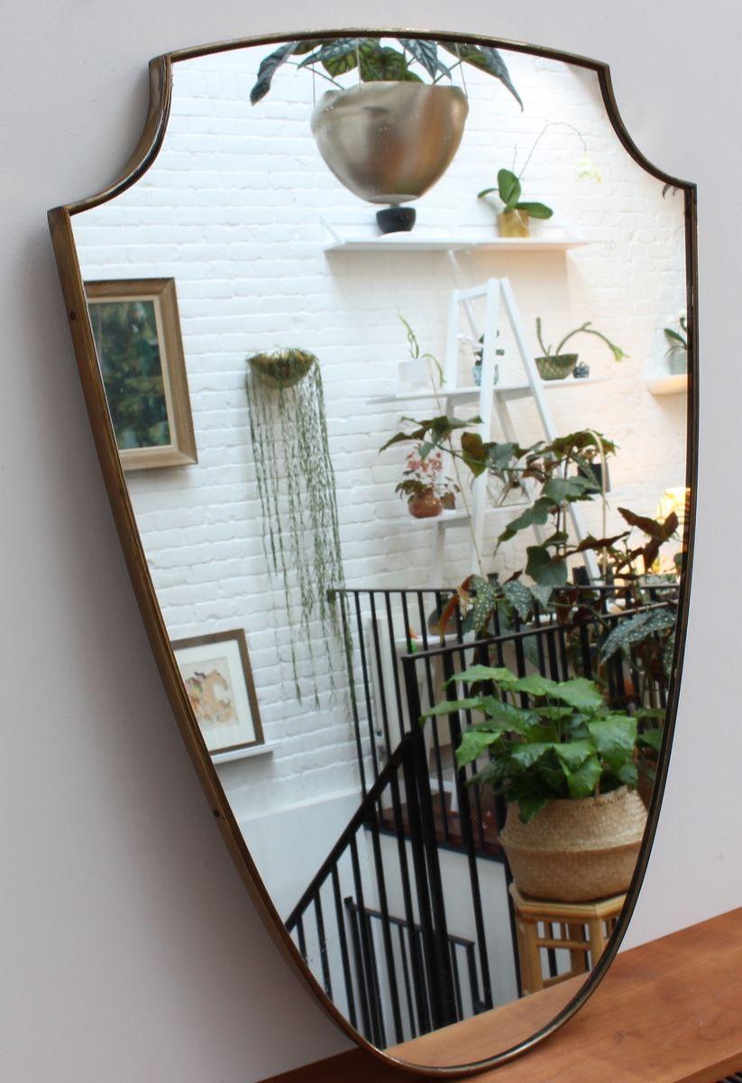 italienischer mid century wandspiegel mit rahmen aus messing bei pamono kaufen. Black Bedroom Furniture Sets. Home Design Ideas