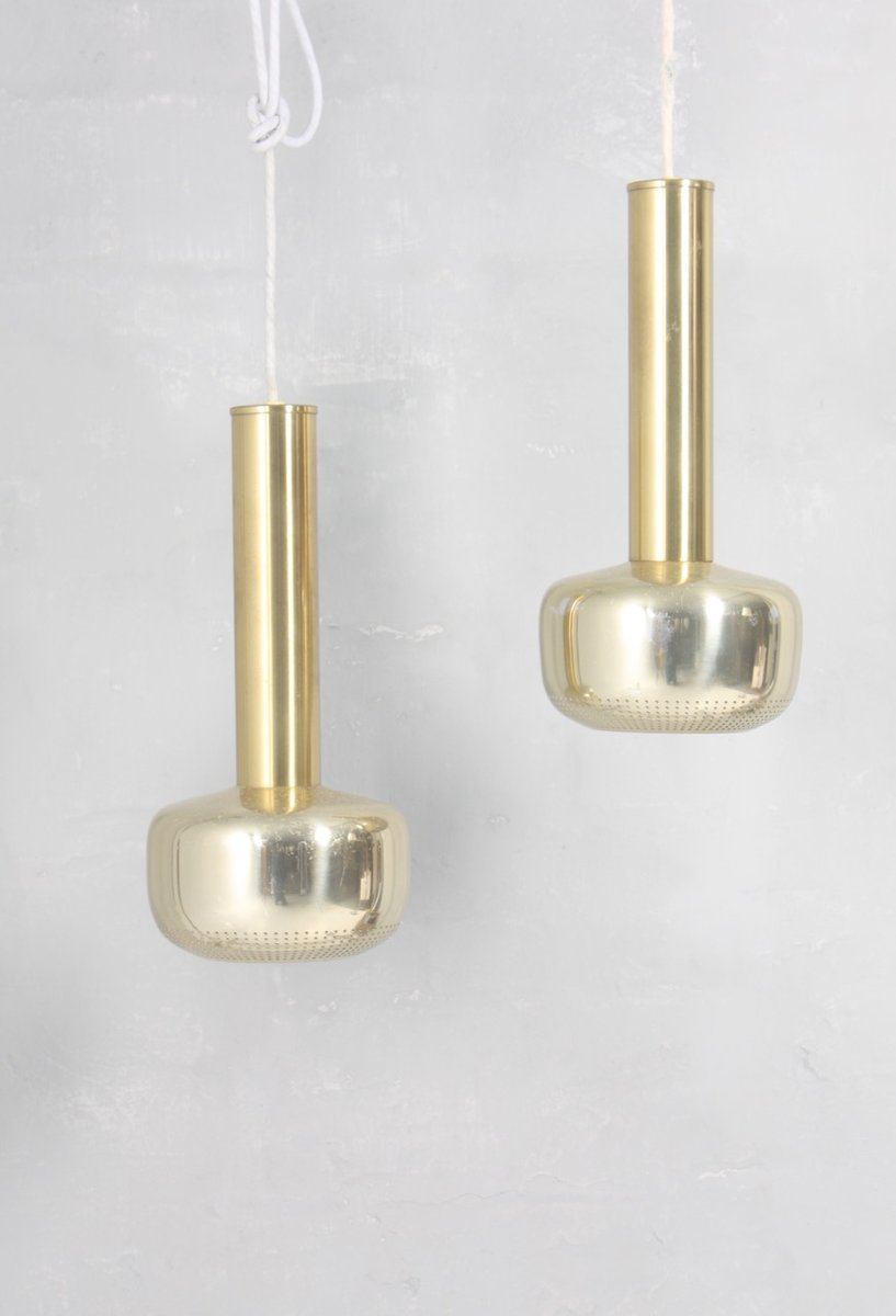 Mid century danish brass pendant lights by vilhelm lauritzen for mid century danish brass pendant lights by vilhelm lauritzen for louis poulsen 1960s set of 2 aloadofball Image collections