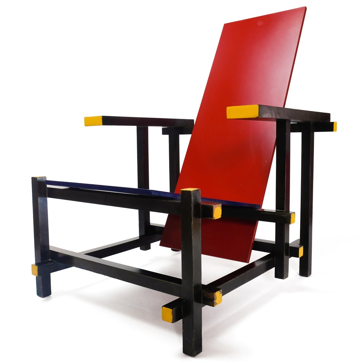 Elegant Red U0026 Blue Chair By Gerrit Thomas Rietveld For Cassina, 1970s