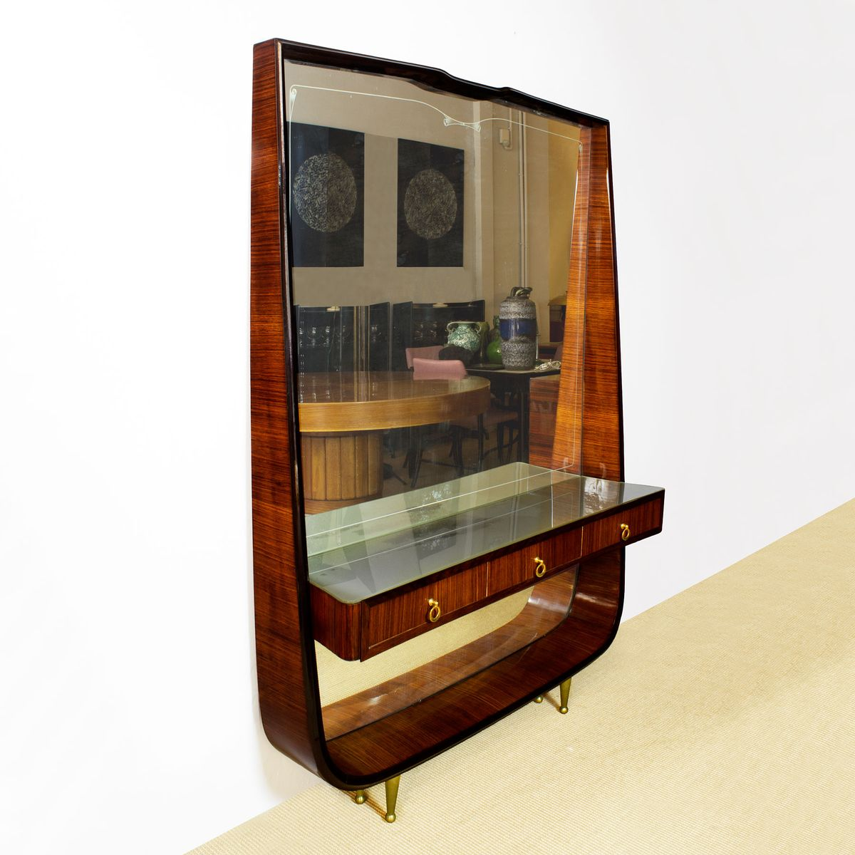 italienischer vintage spiegel mit ablage 1940er bei. Black Bedroom Furniture Sets. Home Design Ideas