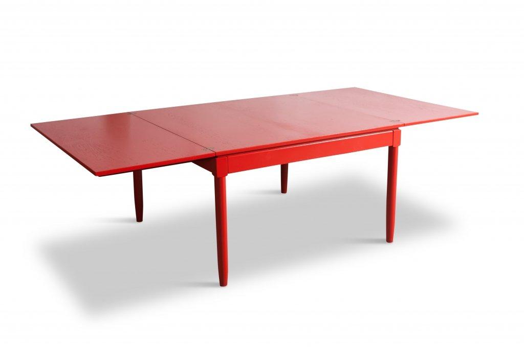 rot lackierter ausziehbarer mid century esstisch von vico. Black Bedroom Furniture Sets. Home Design Ideas