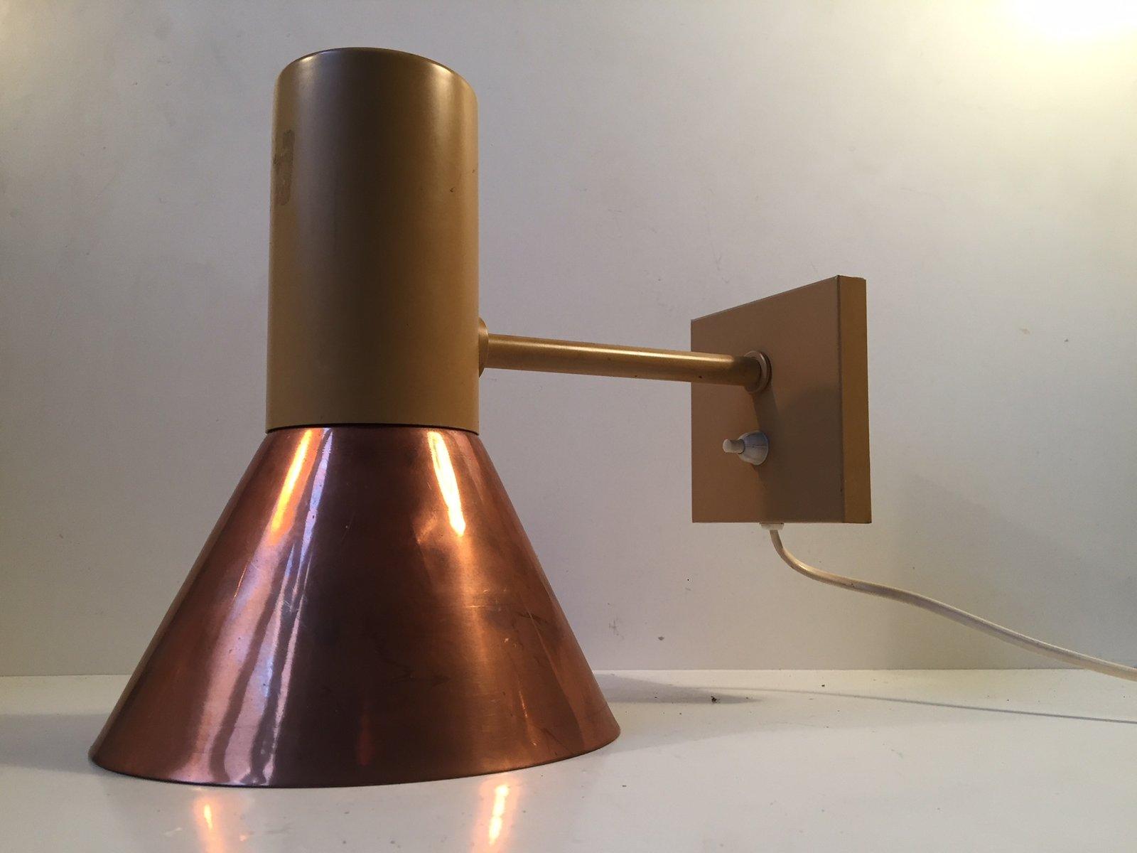 gro e d nische kupfer wandlampe von fog m rup 1970er bei pamono kaufen. Black Bedroom Furniture Sets. Home Design Ideas