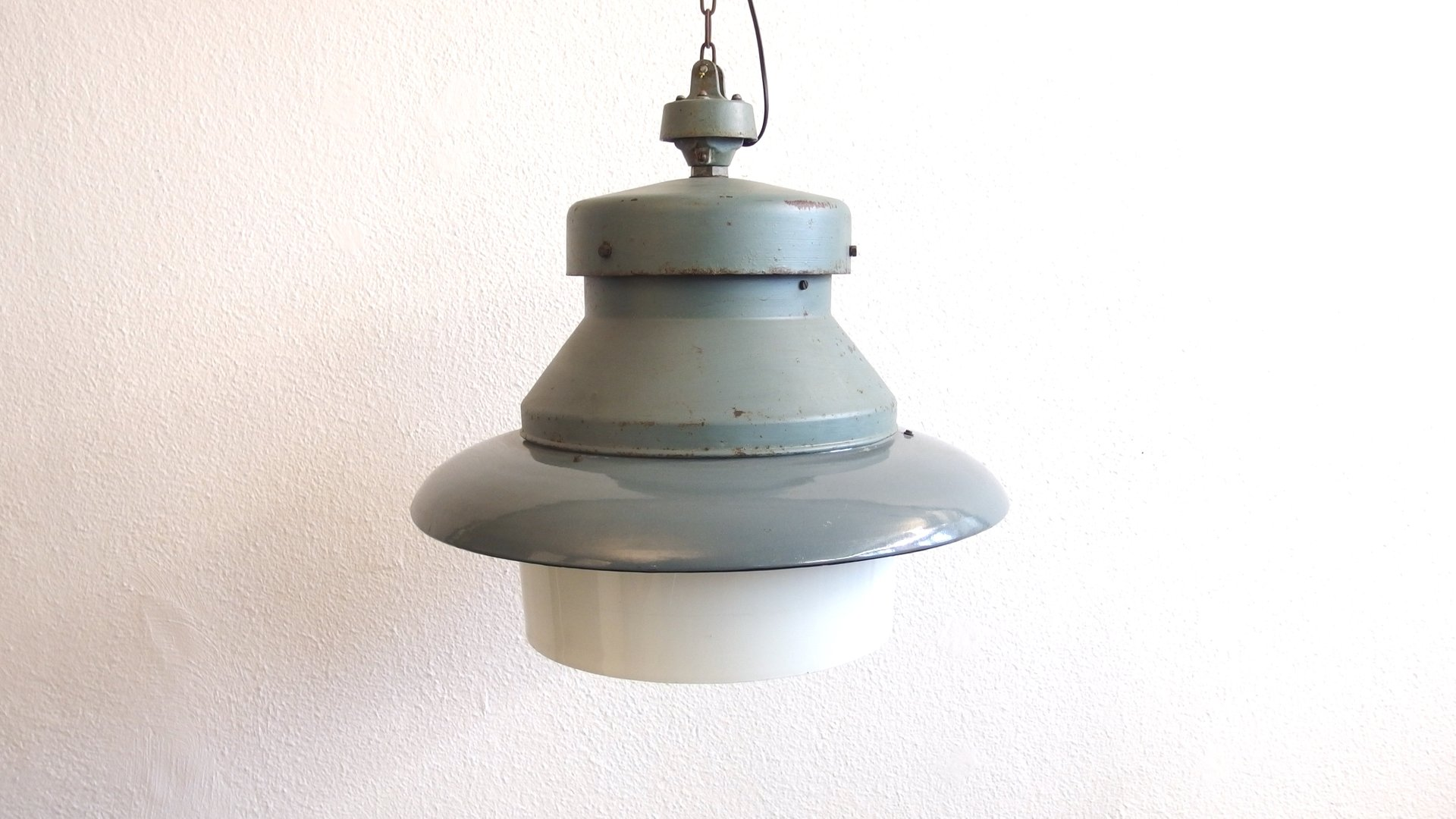 Large vintage gray industrial pendant lamp in enamel and opal glass large vintage gray industrial pendant lamp in enamel and opal glass mozeypictures Image collections