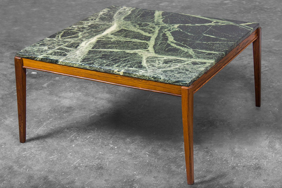 Danish Square Coffee Table in Teak and Deep Green Marble 1960s for