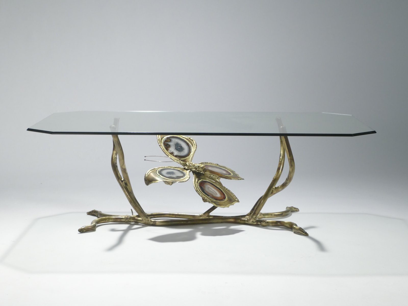 Vintage Bronze Glass Coffee Table by Henri Fernandez 1970s for