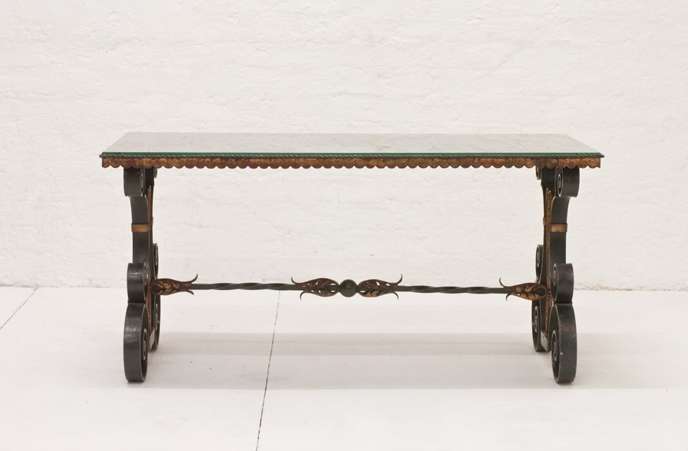 Vintage french wrought iron coffee table 1940s for sale for Wrought iron coffee table for sale