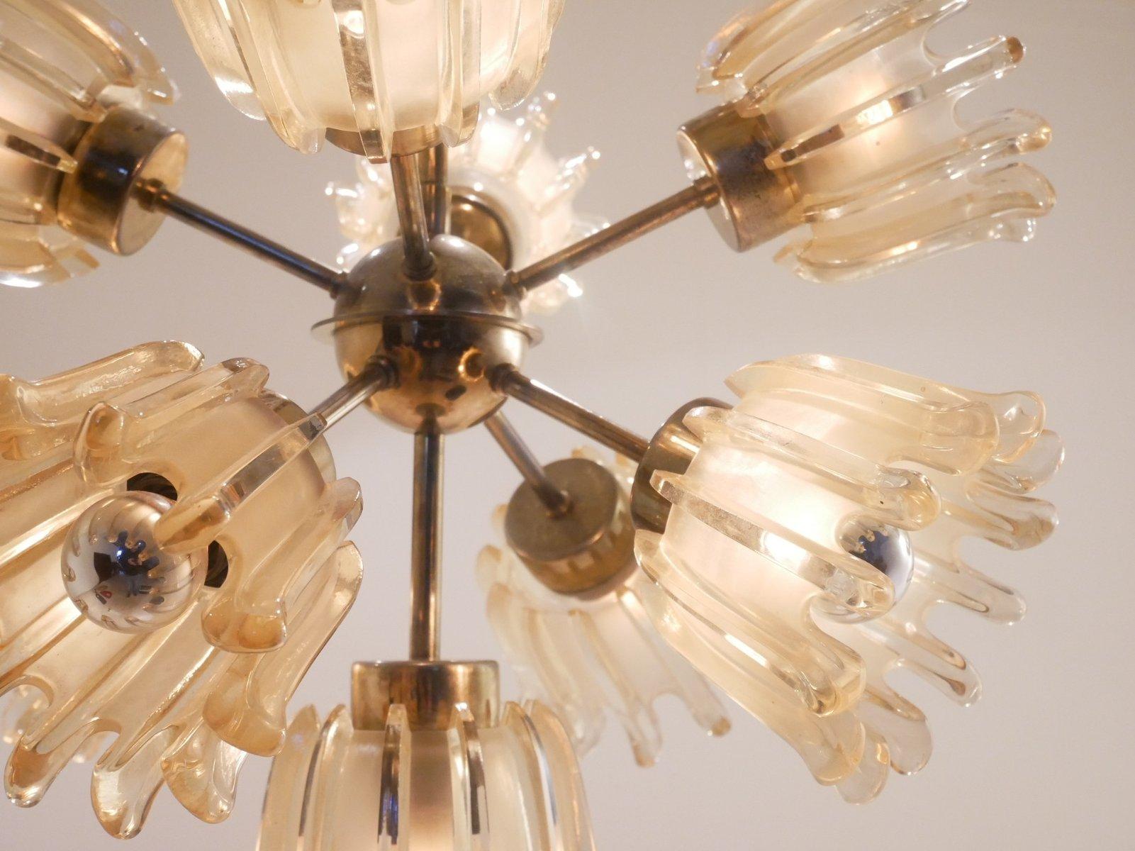 chandelier mid century en verre de murano laiton italie. Black Bedroom Furniture Sets. Home Design Ideas