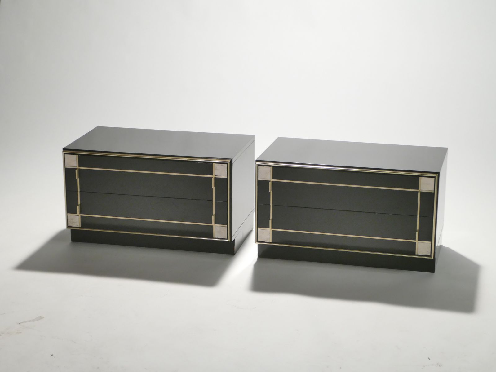 brass lacquered bedside tables from roche bobois 1975. Black Bedroom Furniture Sets. Home Design Ideas