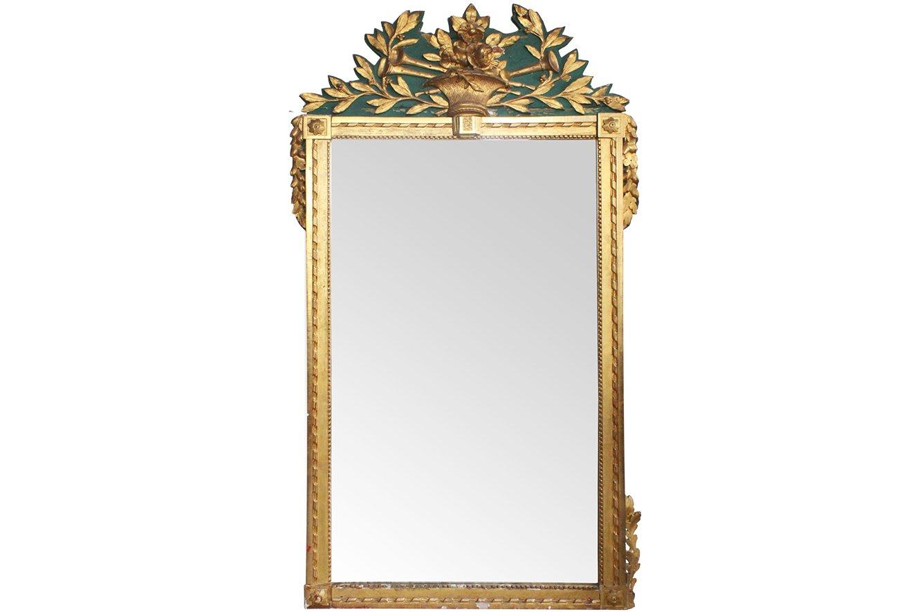 gro er trumeau spiegel mit geschnitztem vergoldetem rahmen aus 18 jhdt bei pamono kaufen. Black Bedroom Furniture Sets. Home Design Ideas