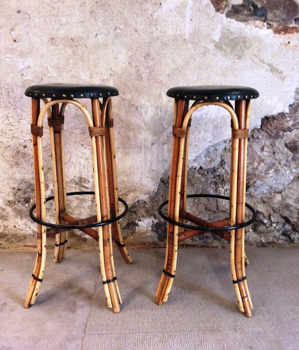 vintage bambus tiki bar mit 2 hocker 1960er bei pamono kaufen. Black Bedroom Furniture Sets. Home Design Ideas