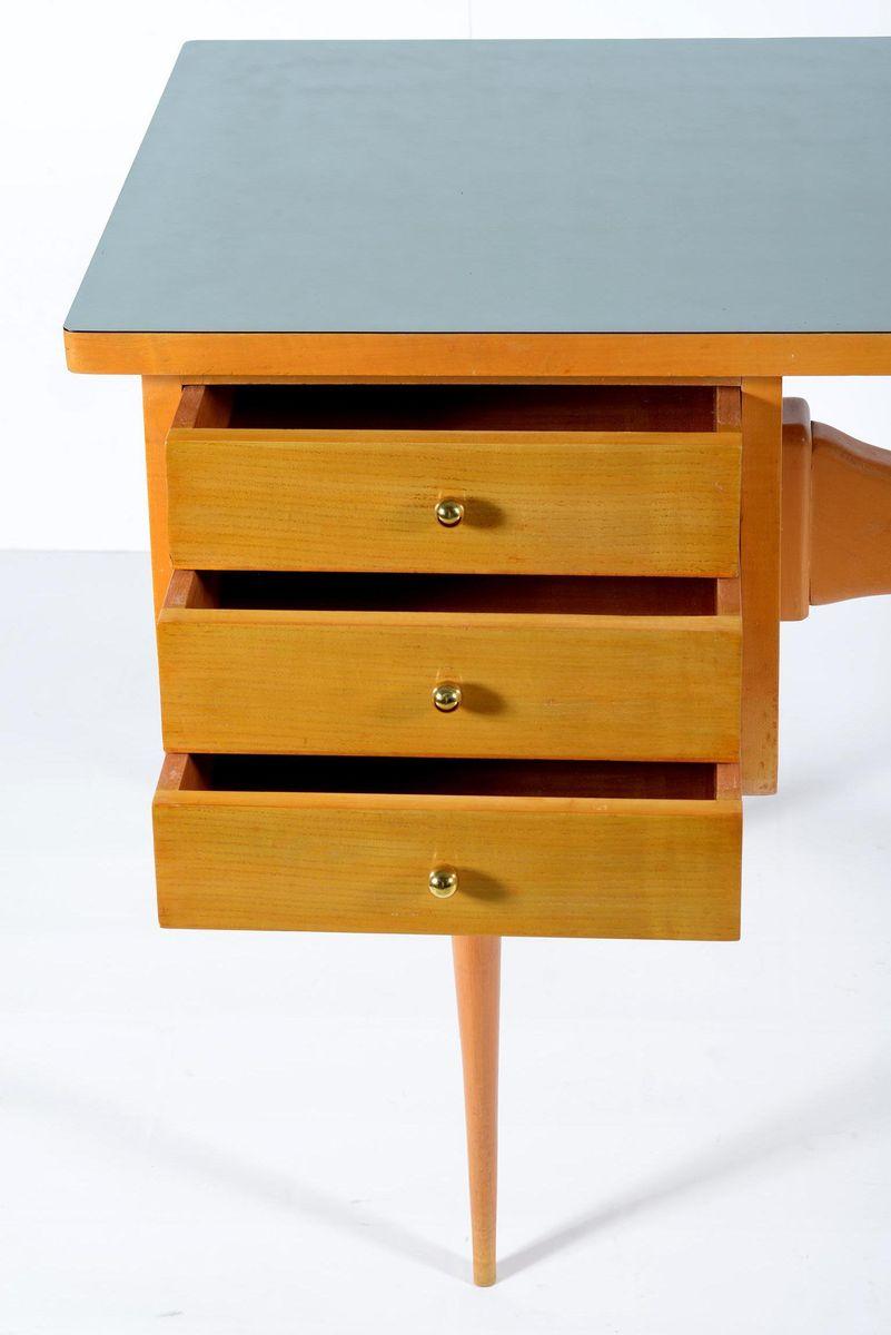 italienischer schreibtisch mit 3 schubladen 1958 bei. Black Bedroom Furniture Sets. Home Design Ideas