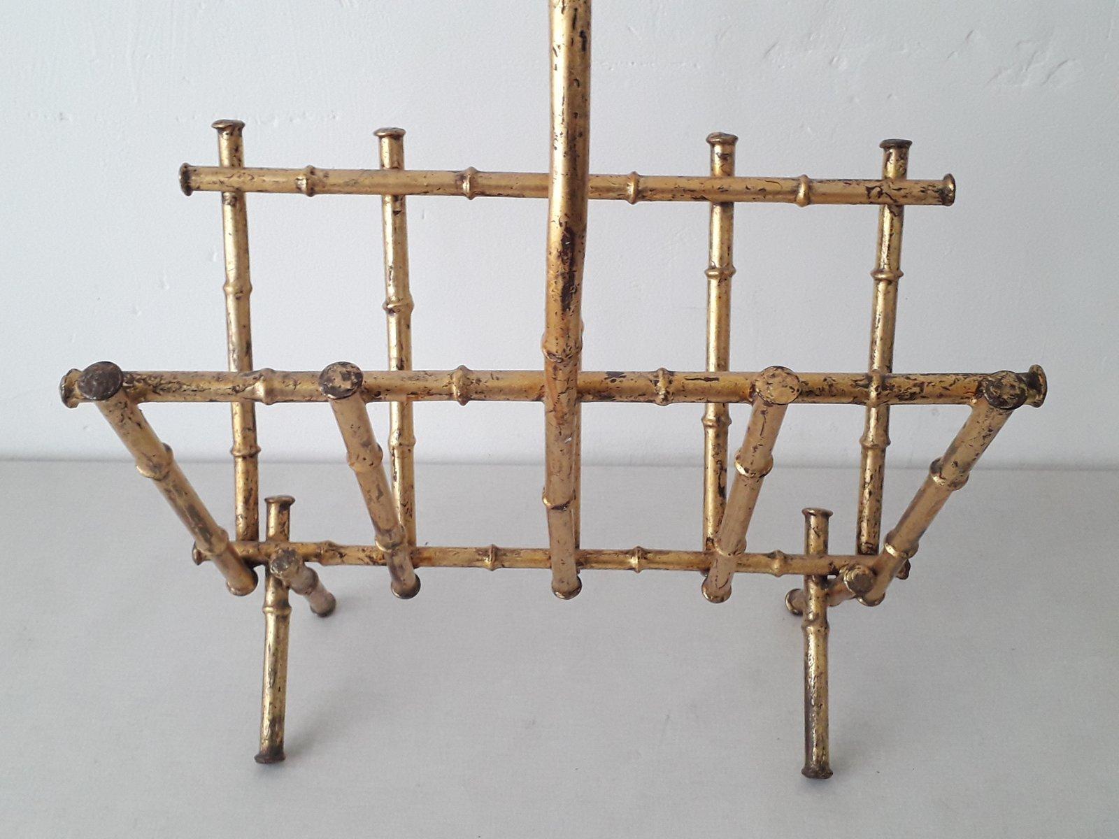 zeitungsst nder aus vergoldetem metall in bambus optik. Black Bedroom Furniture Sets. Home Design Ideas