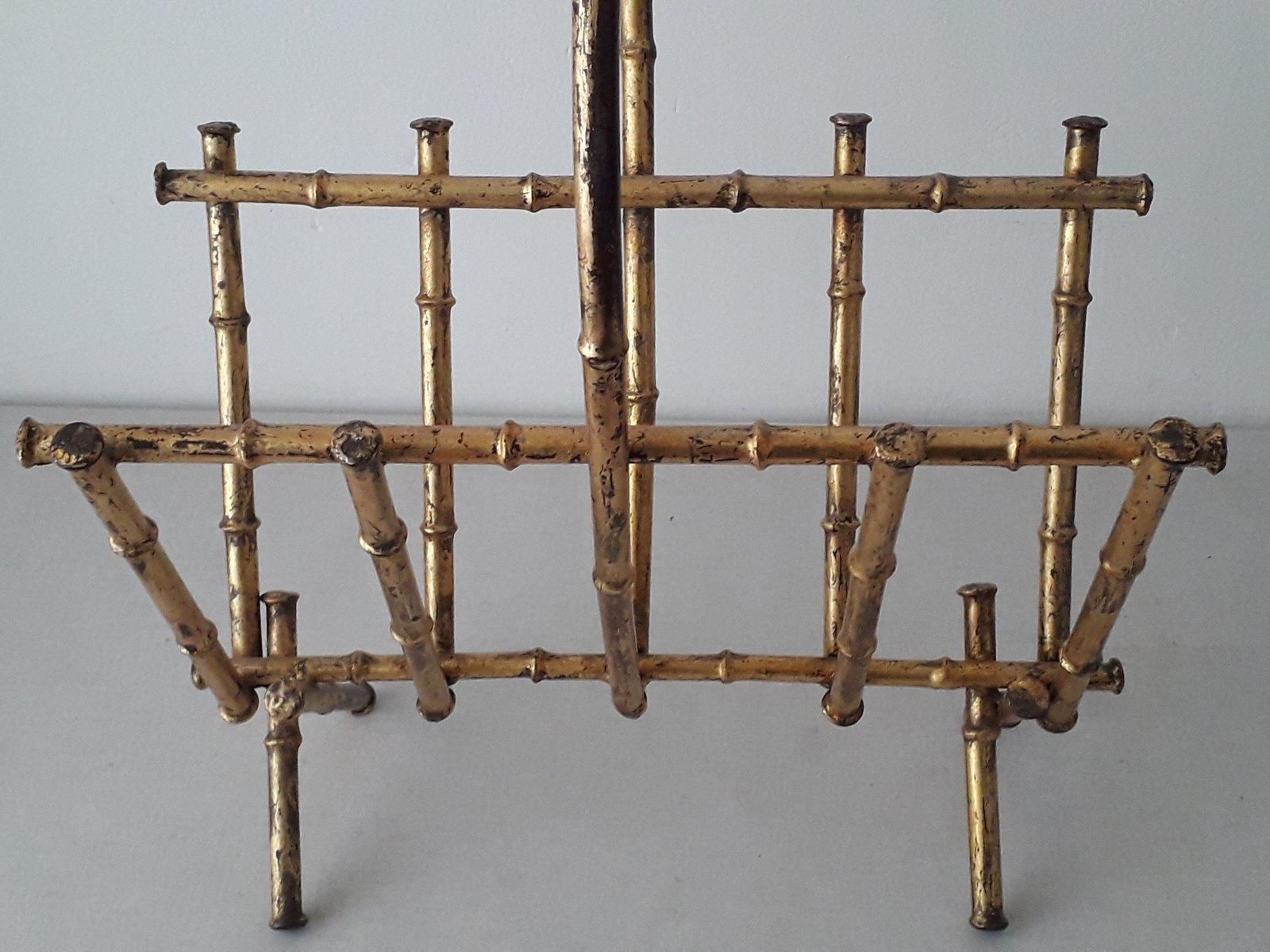 zeitungsst nder aus vergoldetem metall in bambus optik 1950er bei pamono kaufen. Black Bedroom Furniture Sets. Home Design Ideas