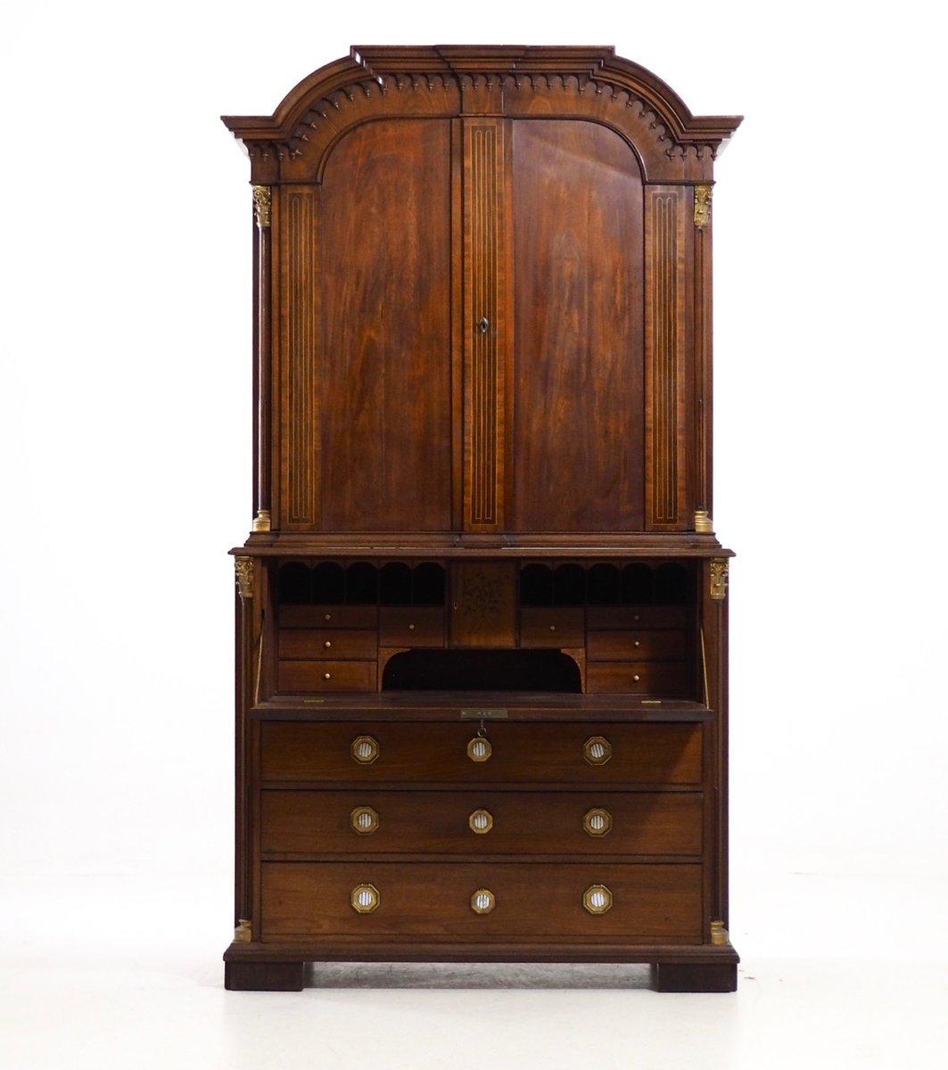 antiker zweiteiliger holz sekret r bei pamono kaufen. Black Bedroom Furniture Sets. Home Design Ideas