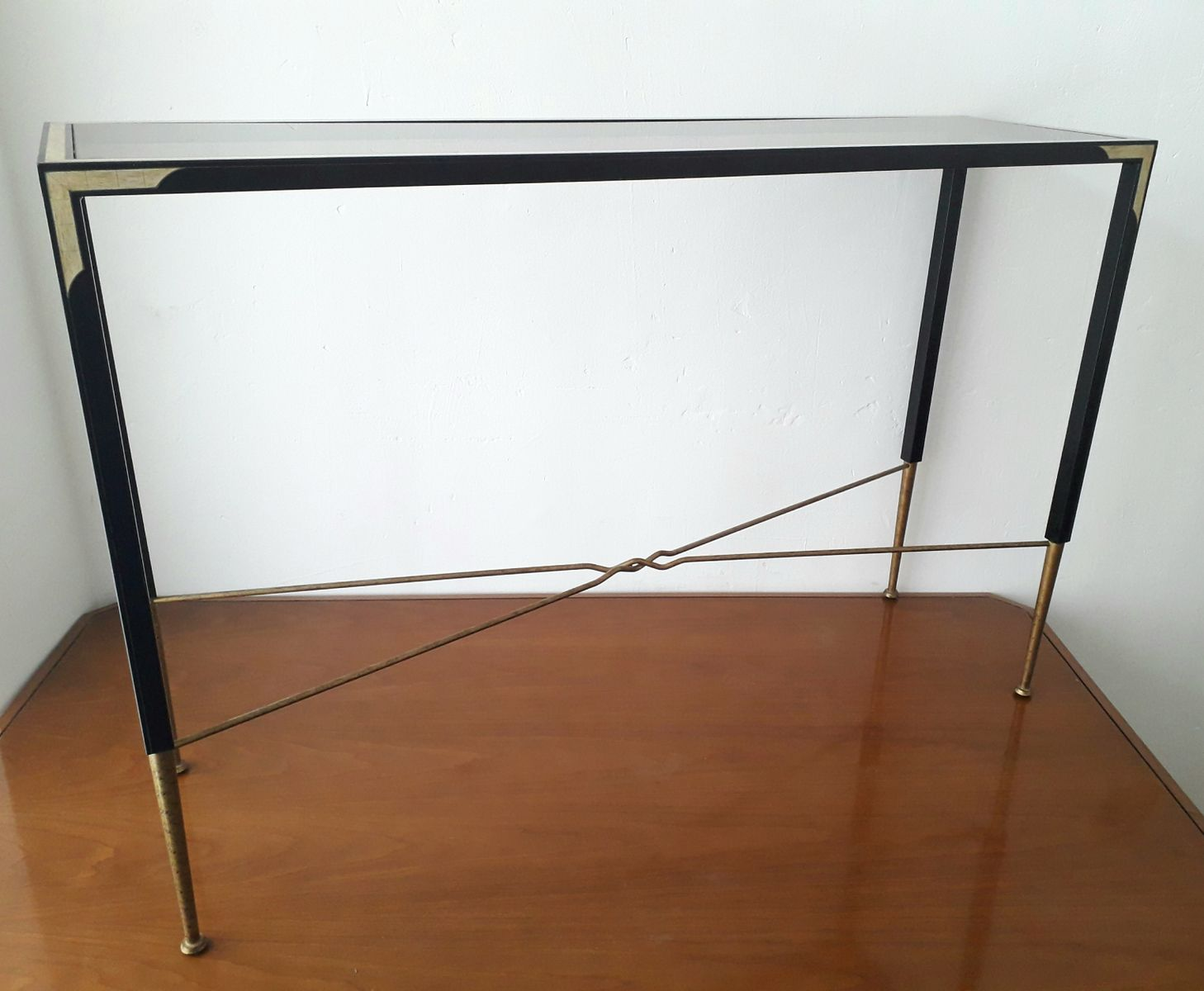 Metal and smoked glass top console table 1980s for sale for Metal console tables glass top